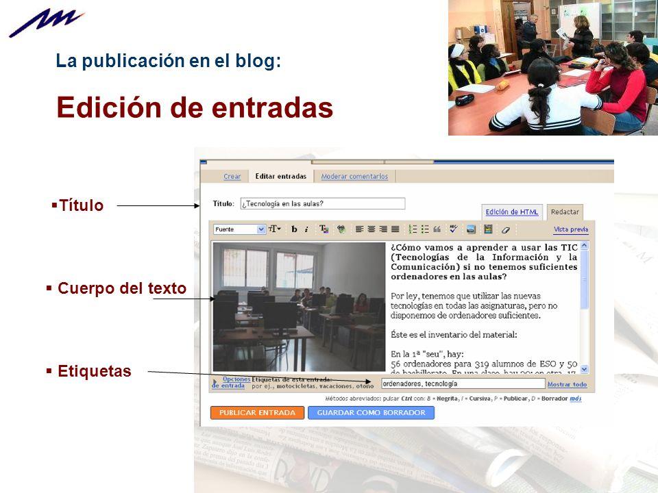 Edición de entradas La publicación en el blog: Título Cuerpo del texto