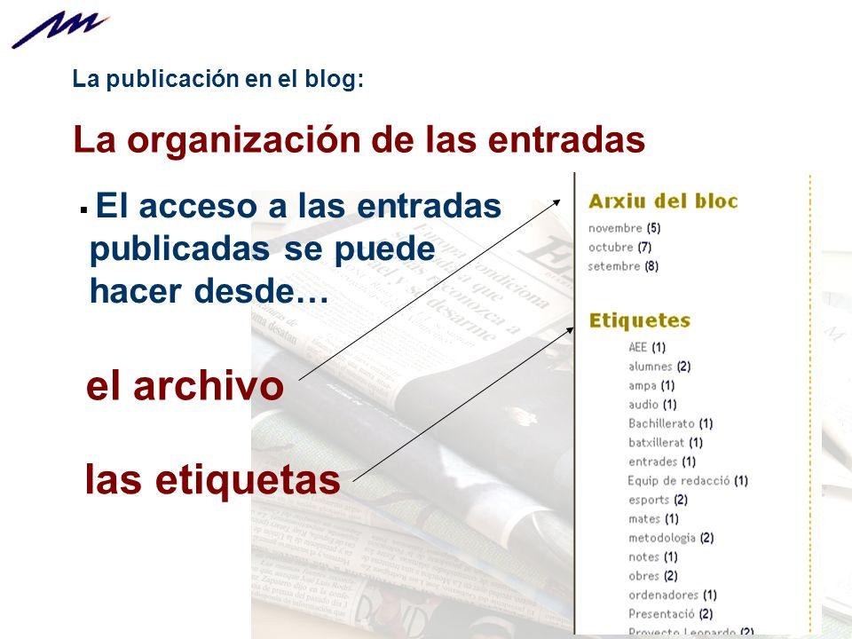 el archivo las etiquetas La organización de las entradas