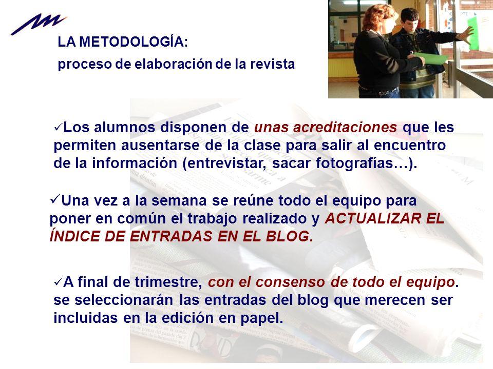 LA METODOLOGÍA: proceso de elaboración de la revista.