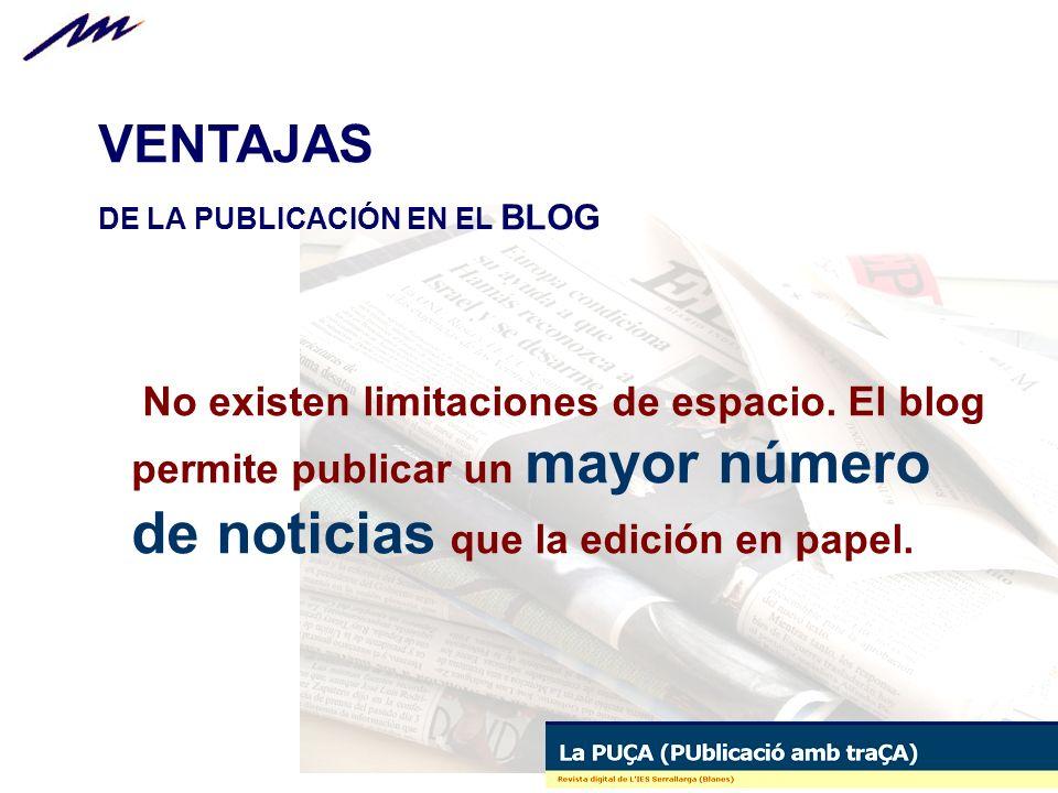 VENTAJAS DE LA PUBLICACIÓN EN EL BLOG.