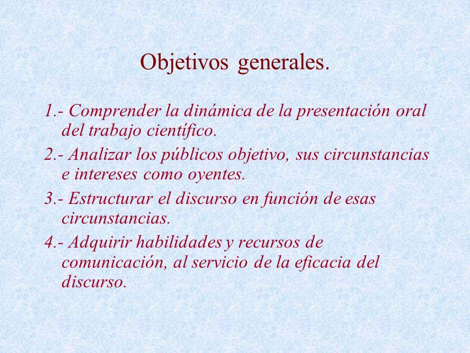 Objetivos generales. 1.- Comprender la dinámica de la presentación oral del trabajo científico.