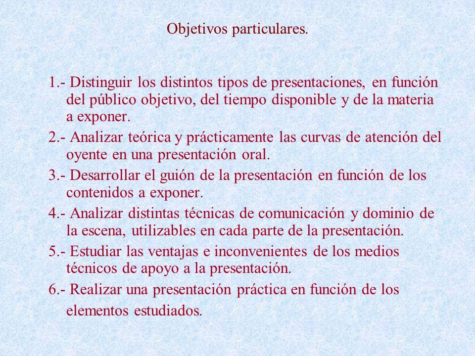 Objetivos particulares.