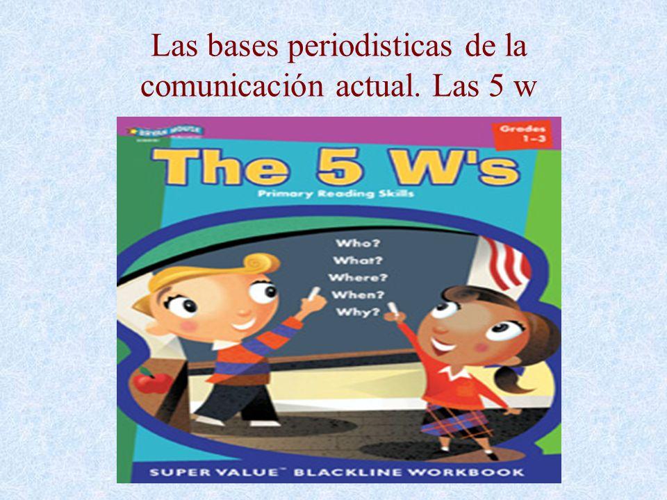 Las bases periodisticas de la comunicación actual. Las 5 w