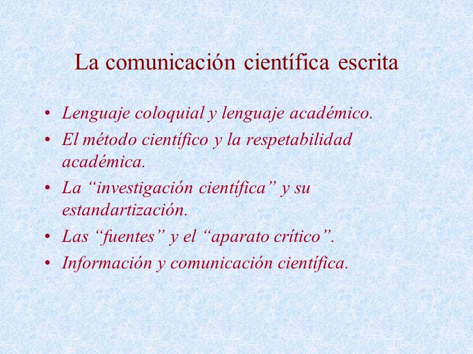 La comunicación científica escrita