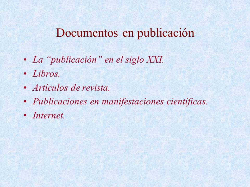 Documentos en publicación