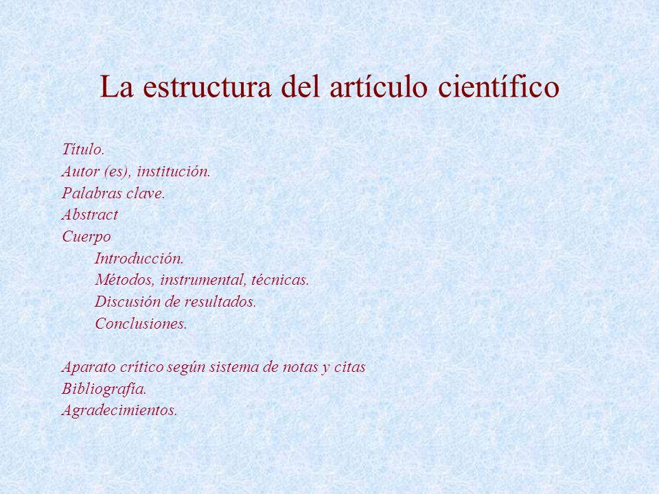 La estructura del artículo científico