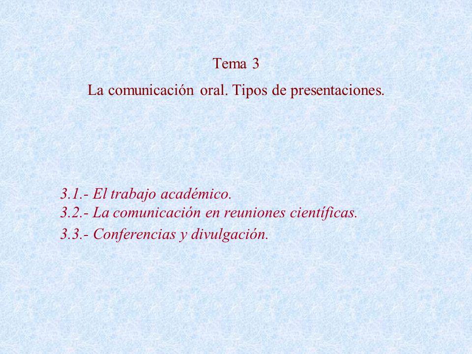 Tema 3 La comunicación oral. Tipos de presentaciones.