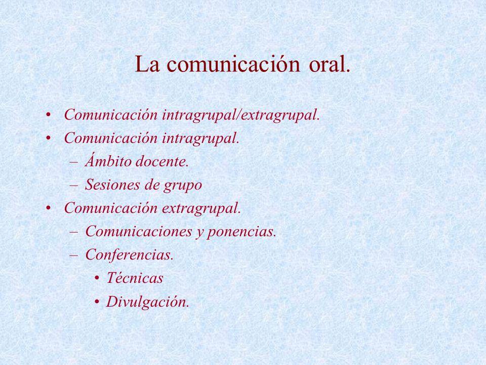 La comunicación oral. Comunicación intragrupal/extragrupal.