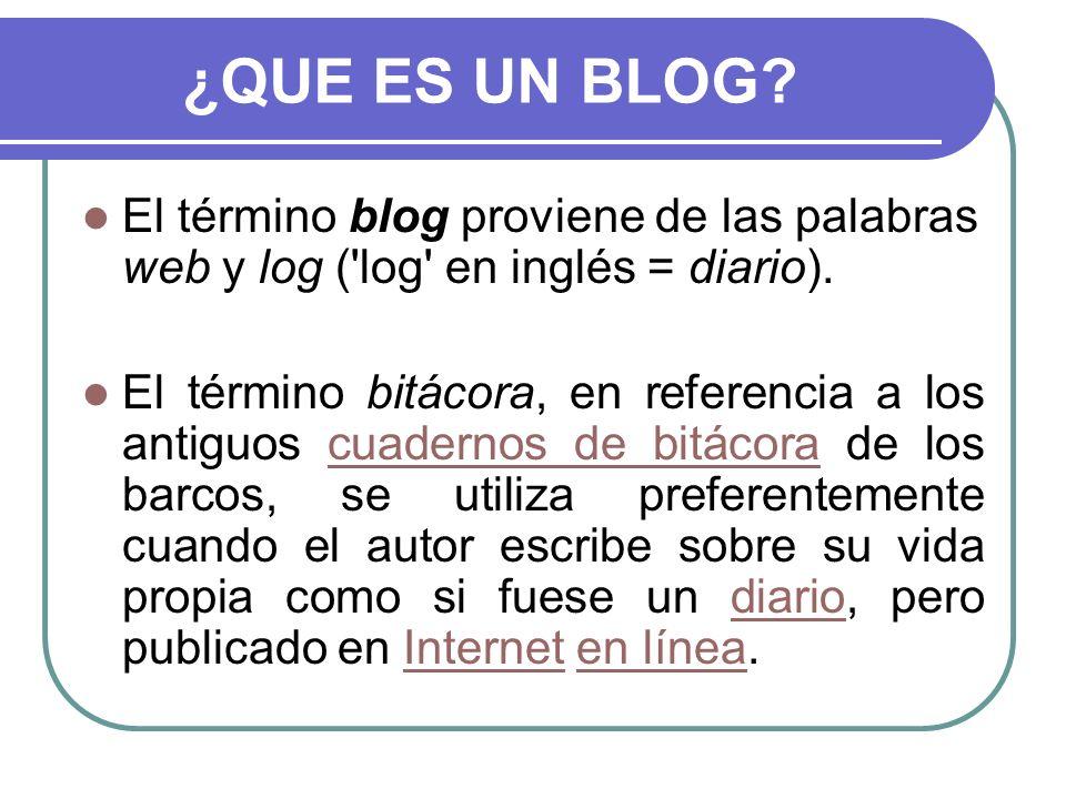 ¿QUE ES UN BLOG El término blog proviene de las palabras web y log ( log en inglés = diario).