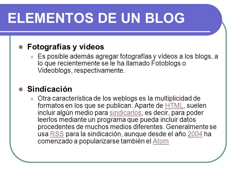 ELEMENTOS DE UN BLOG Fotografías y vídeos Sindicación