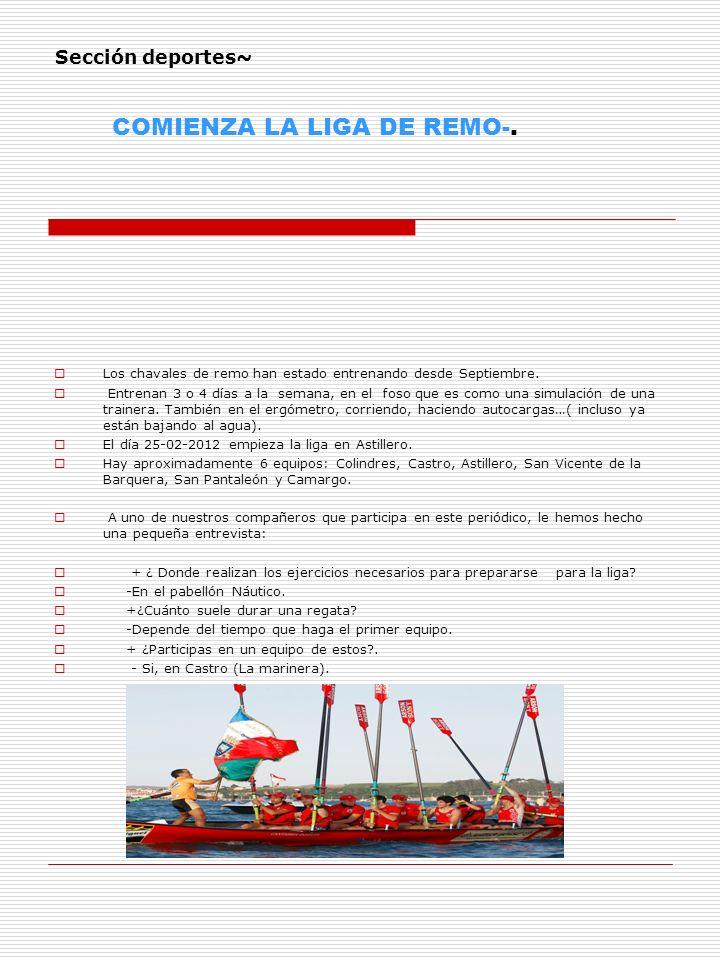 Sección deportes~ COMIENZA LA LIGA DE REMO-.