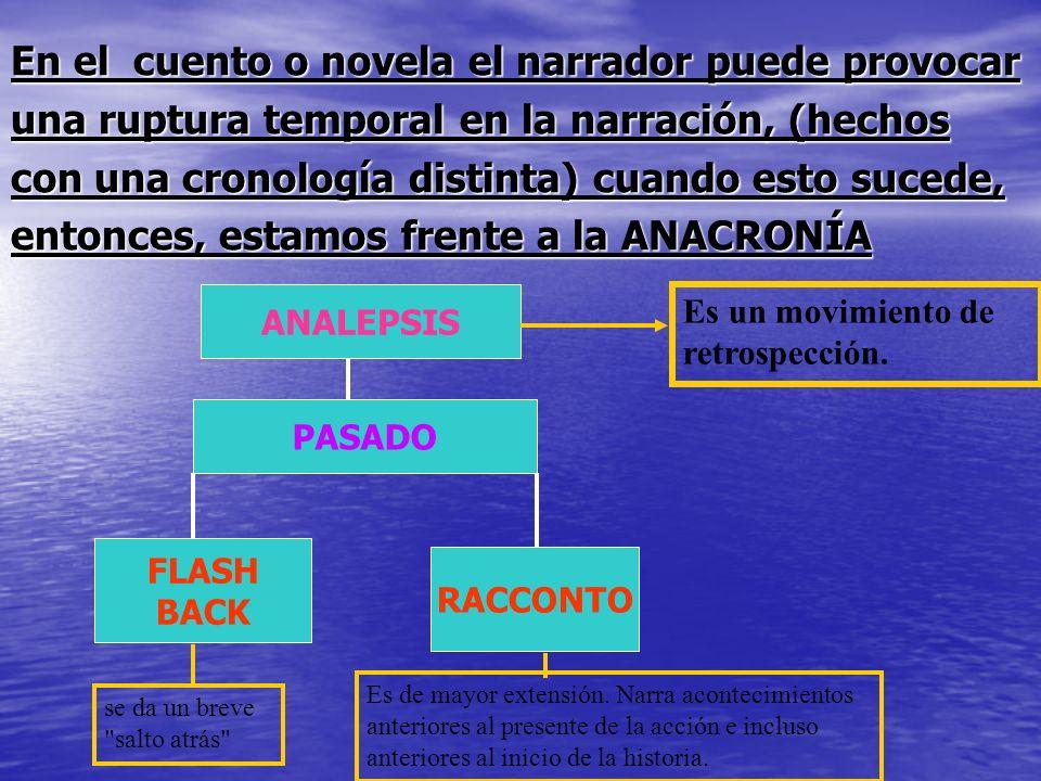 En el cuento o novela el narrador puede provocar