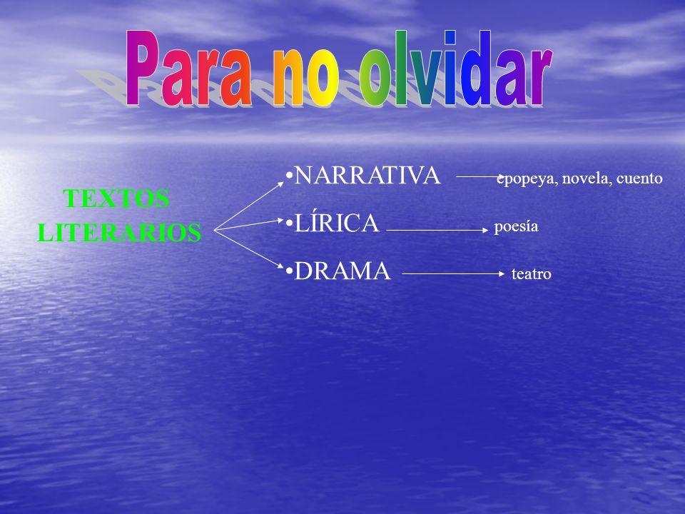 Para no olvidar TEXTOS LITERARIOS NARRATIVA epopeya, novela, cuento