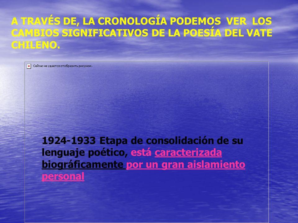 A TRAVÉS DE, LA CRONOLOGÍA PODEMOS VER LOS CAMBIOS SIGNIFICATIVOS DE LA POESÍA DEL VATE CHILENO.