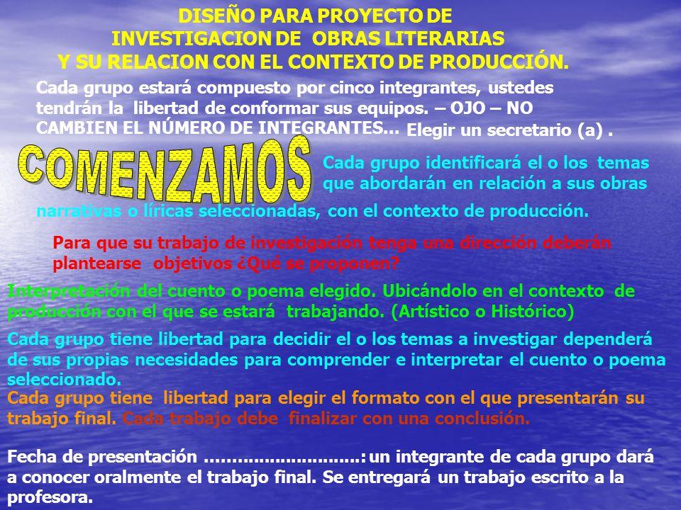 COMENZAMOS DISEÑO PARA PROYECTO DE INVESTIGACION DE OBRAS LITERARIAS