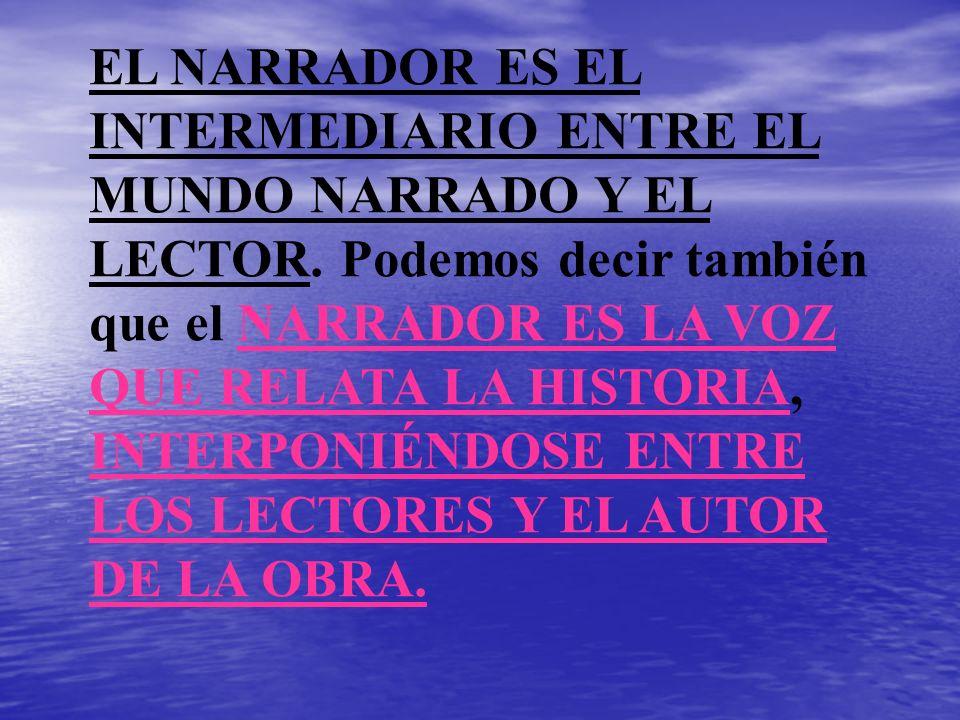 EL NARRADOR ES EL INTERMEDIARIO ENTRE EL MUNDO NARRADO Y EL LECTOR