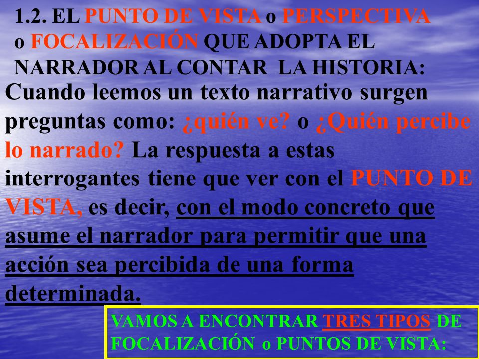 1.2. EL PUNTO DE VISTA o PERSPECTIVA o FOCALIZACIÓN QUE ADOPTA EL NARRADOR AL CONTAR LA HISTORIA: