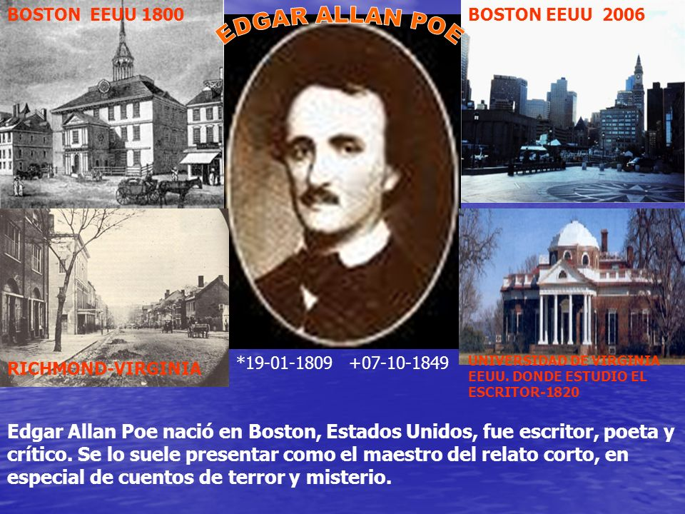 BOSTON EEUU 1800 BOSTON EEUU 2006. EDGAR ALLAN POE. *19-01-1809 +07-10-1849. UNIVERSIDAD DE VIRGINIA EEUU. DONDE ESTUDIO EL ESCRITOR-1820.