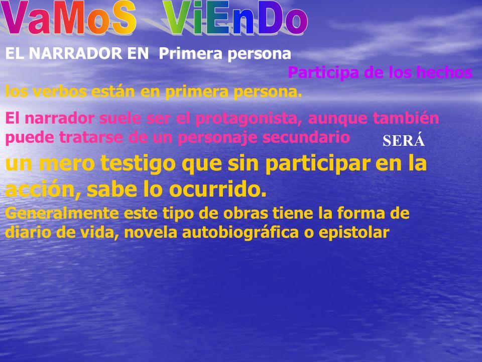VaMoS ViEnDo EL NARRADOR EN Primera persona. Participa de los hechos. los verbos están en primera persona.