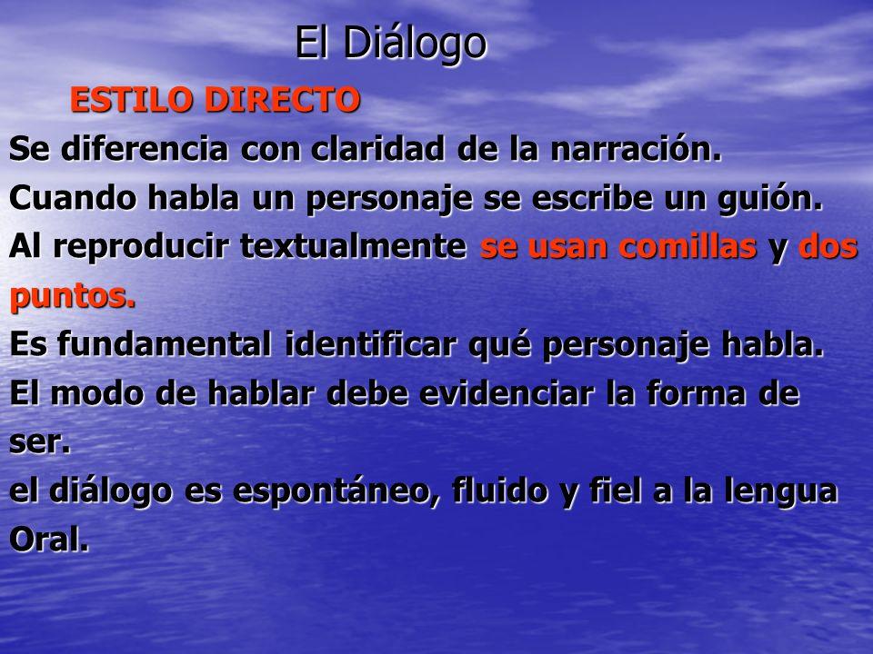 El Diálogo ESTILO DIRECTO Se diferencia con claridad de la narración.