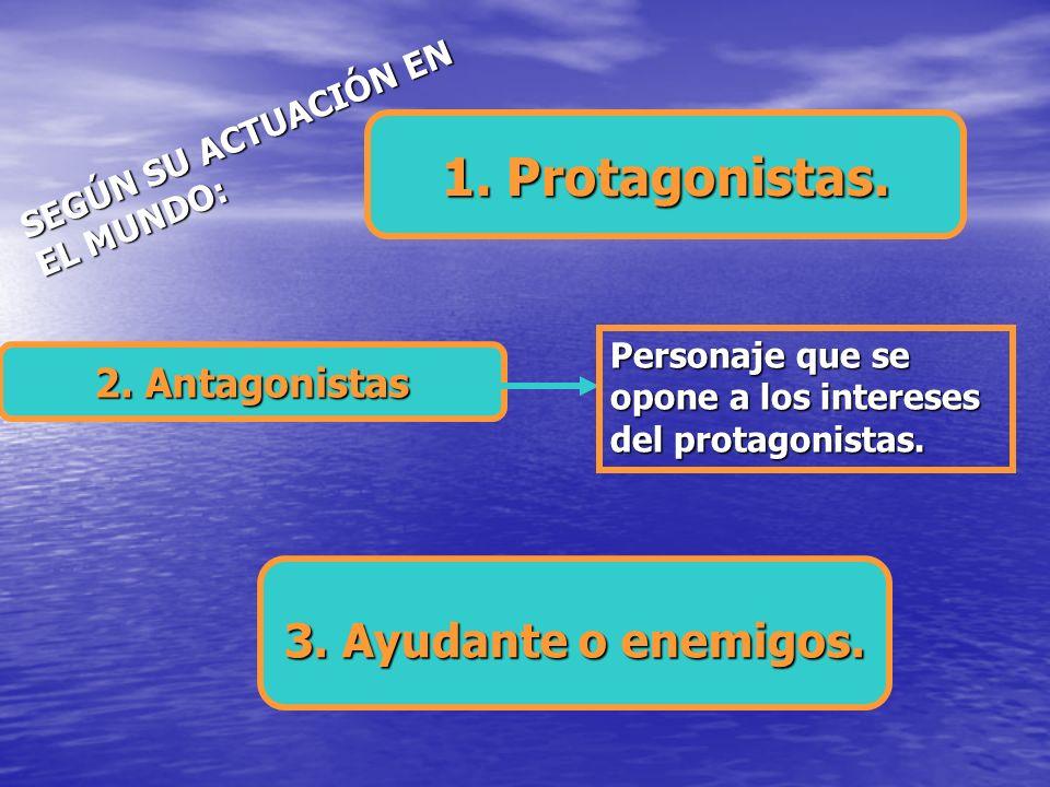 1. Protagonistas. 3. Ayudante o enemigos. 2. Antagonistas