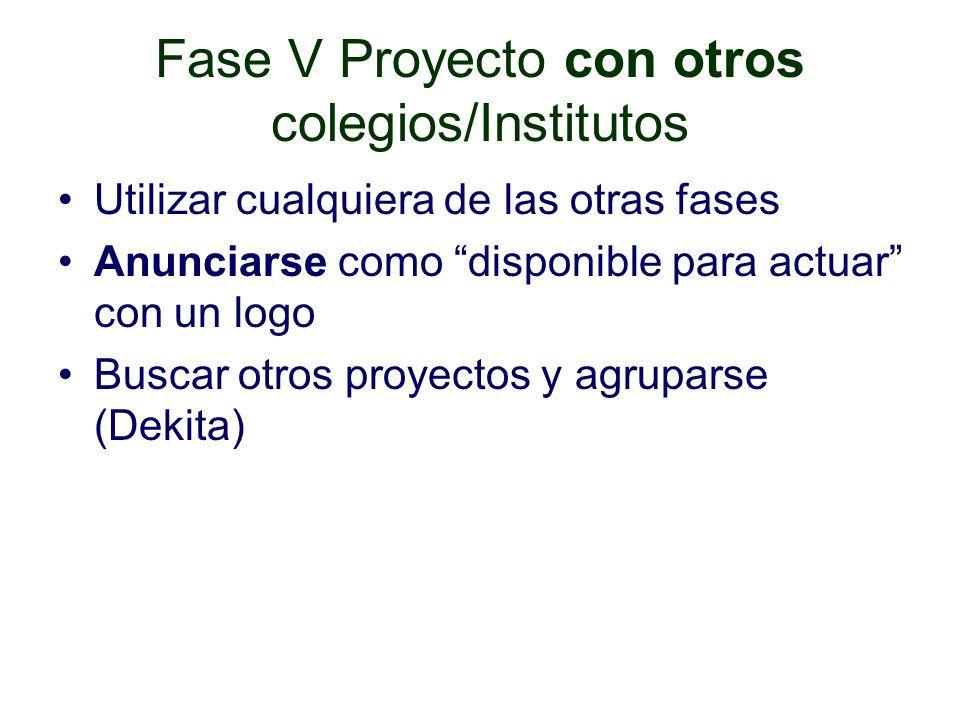 Fase V Proyecto con otros colegios/Institutos