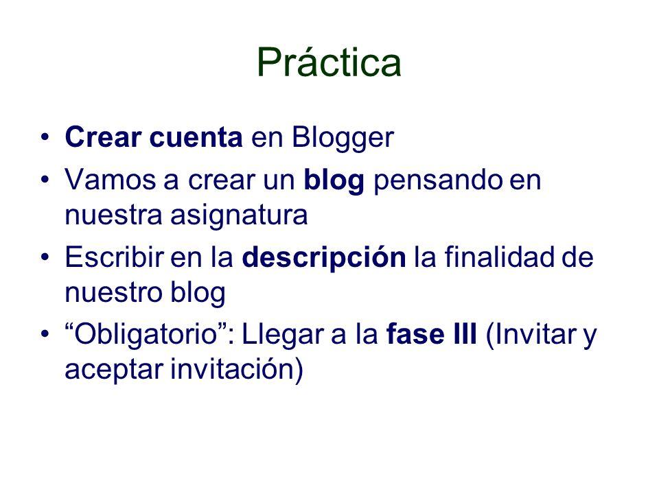 Práctica Crear cuenta en Blogger