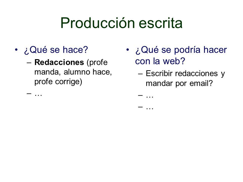 Producción escrita ¿Qué se hace ¿Qué se podría hacer con la web
