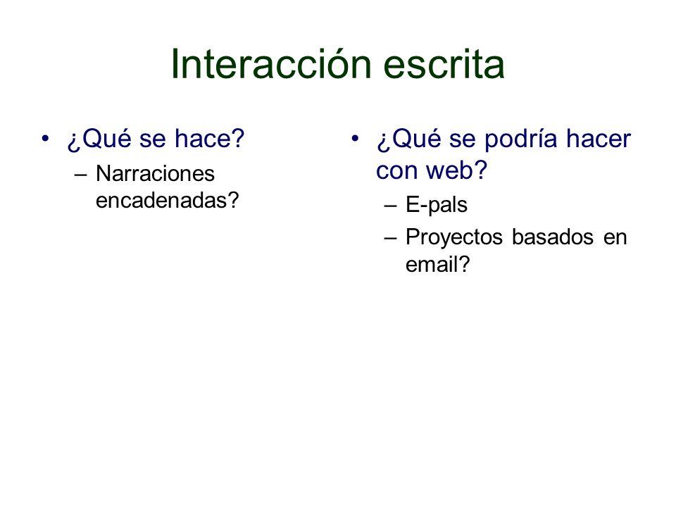 Interacción escrita ¿Qué se hace ¿Qué se podría hacer con web