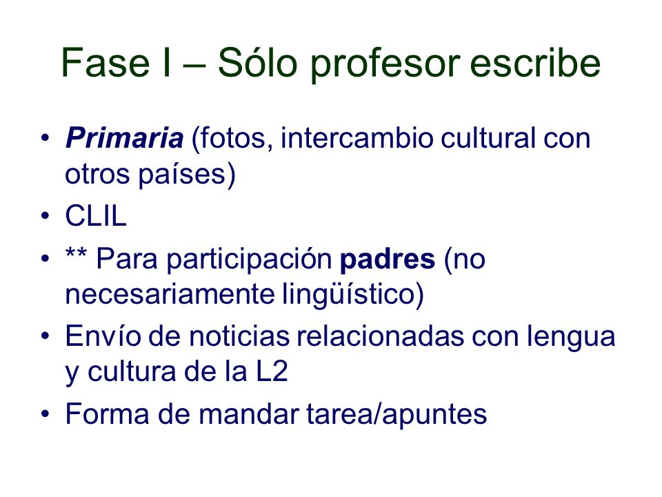 Fase I – Sólo profesor escribe