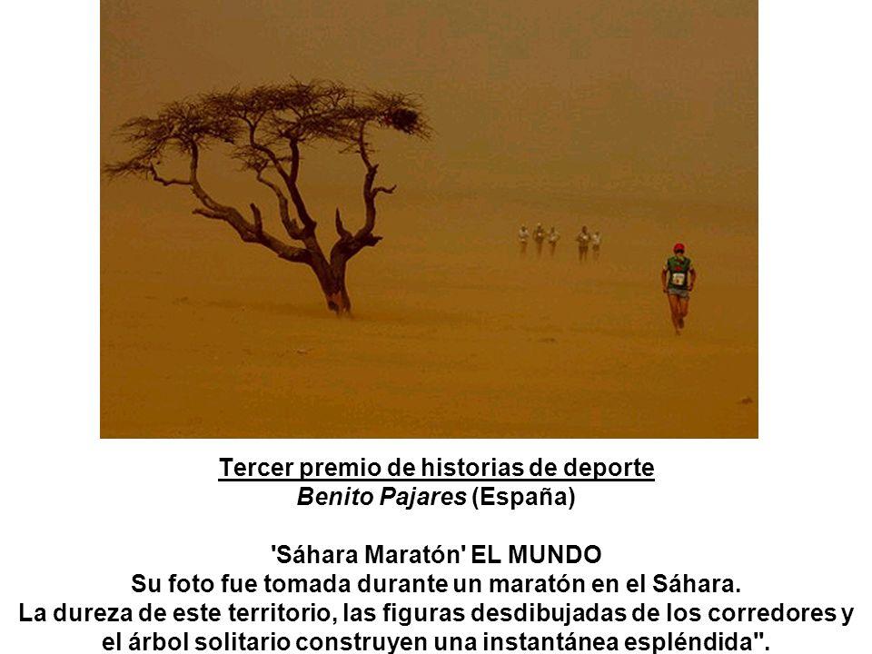 Tercer premio de historias de deporte Benito Pajares (España) Sáhara Maratón EL MUNDO Su foto fue tomada durante un maratón en el Sáhara.