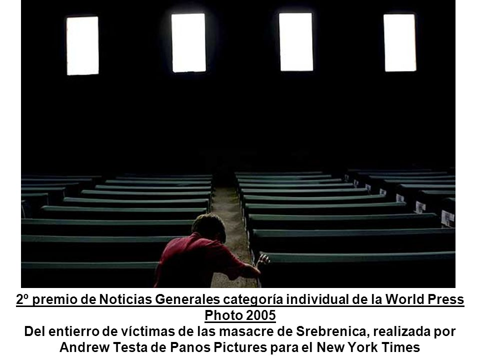 2º premio de Noticias Generales categoría individual de la World Press Photo 2005 Del entierro de víctimas de las masacre de Srebrenica, realizada por Andrew Testa de Panos Pictures para el New York Times