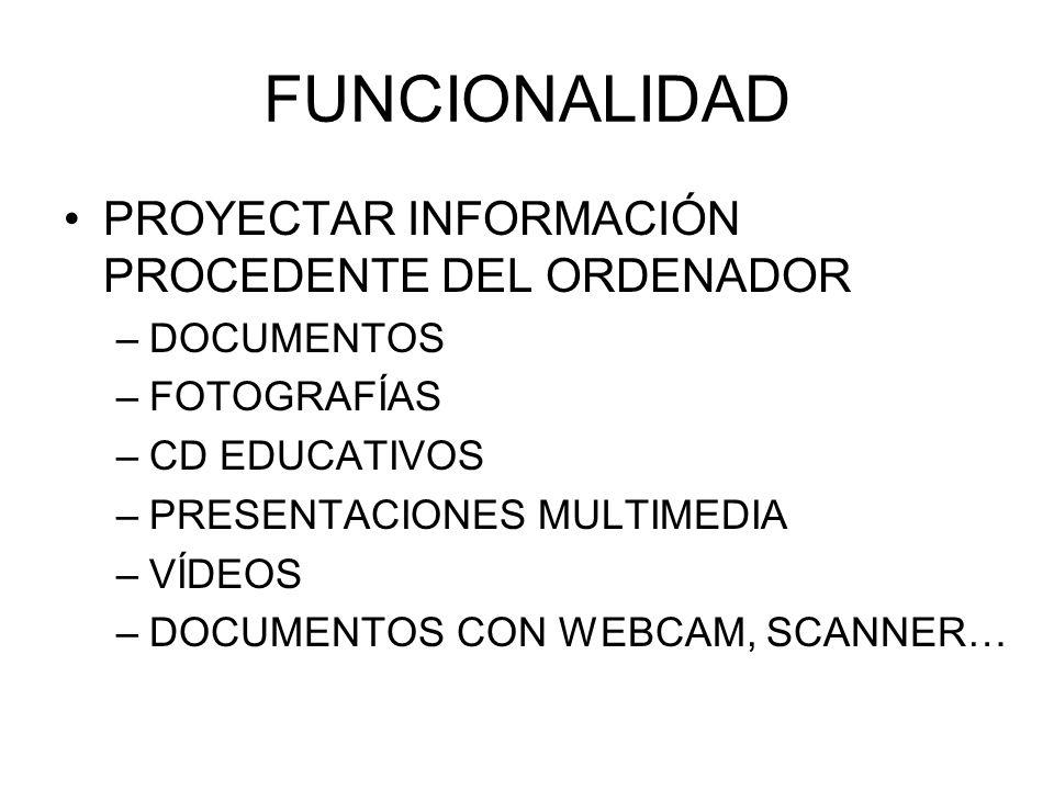 FUNCIONALIDAD PROYECTAR INFORMACIÓN PROCEDENTE DEL ORDENADOR