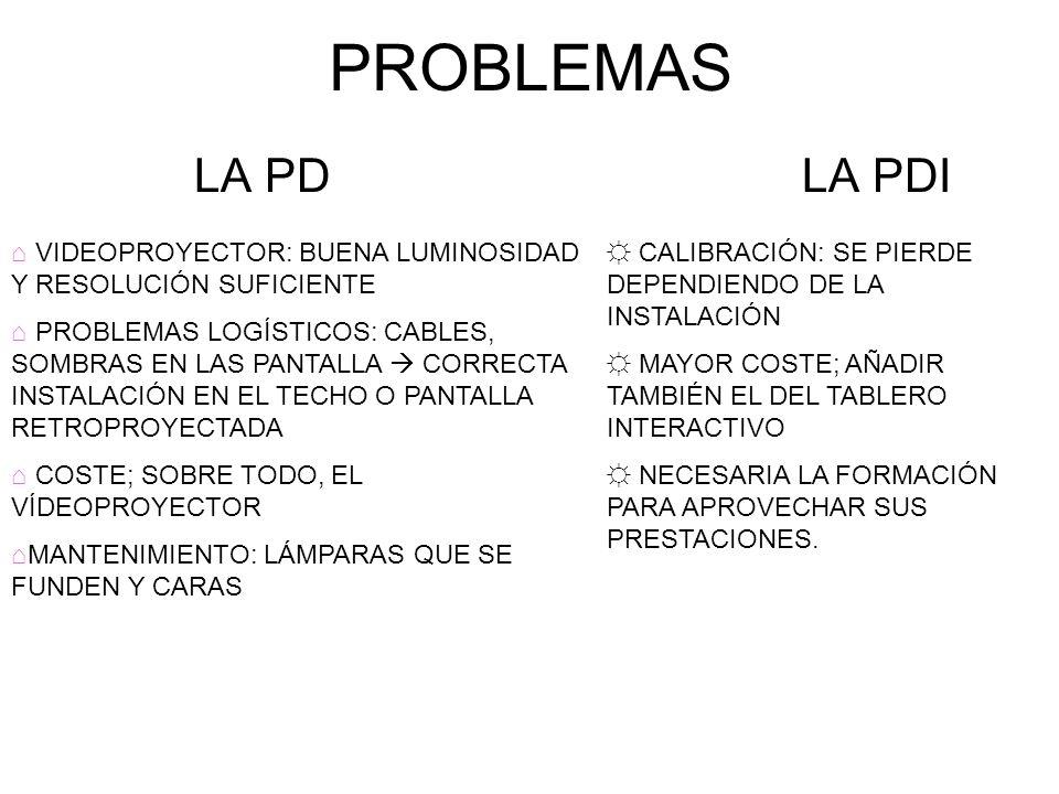 PROBLEMAS LA PD LA PDI. VIDEOPROYECTOR: BUENA LUMINOSIDAD Y RESOLUCIÓN SUFICIENTE.