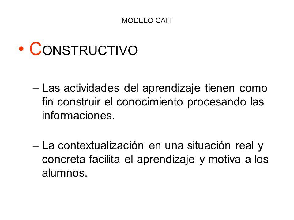 MODELO CAIT CONSTRUCTIVO. Las actividades del aprendizaje tienen como fin construir el conocimiento procesando las informaciones.