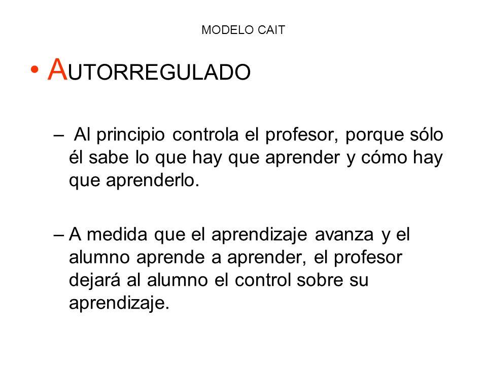 MODELO CAIT AUTORREGULADO. Al principio controla el profesor, porque sólo él sabe lo que hay que aprender y cómo hay que aprenderlo.