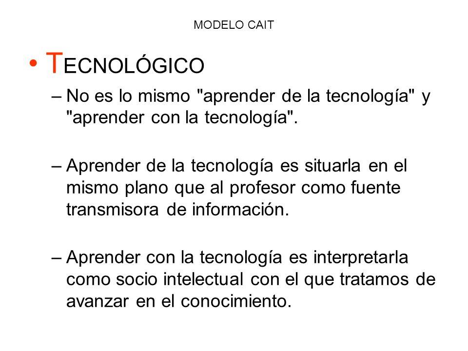 MODELO CAIT TECNOLÓGICO. No es lo mismo aprender de la tecnología y aprender con la tecnología .