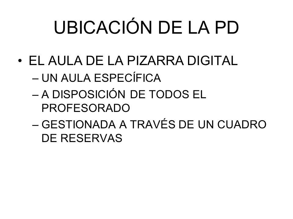 UBICACIÓN DE LA PD EL AULA DE LA PIZARRA DIGITAL UN AULA ESPECÍFICA