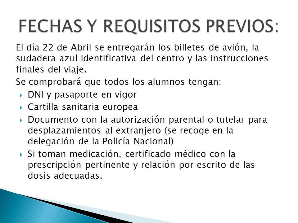 FECHAS Y REQUISITOS PREVIOS: