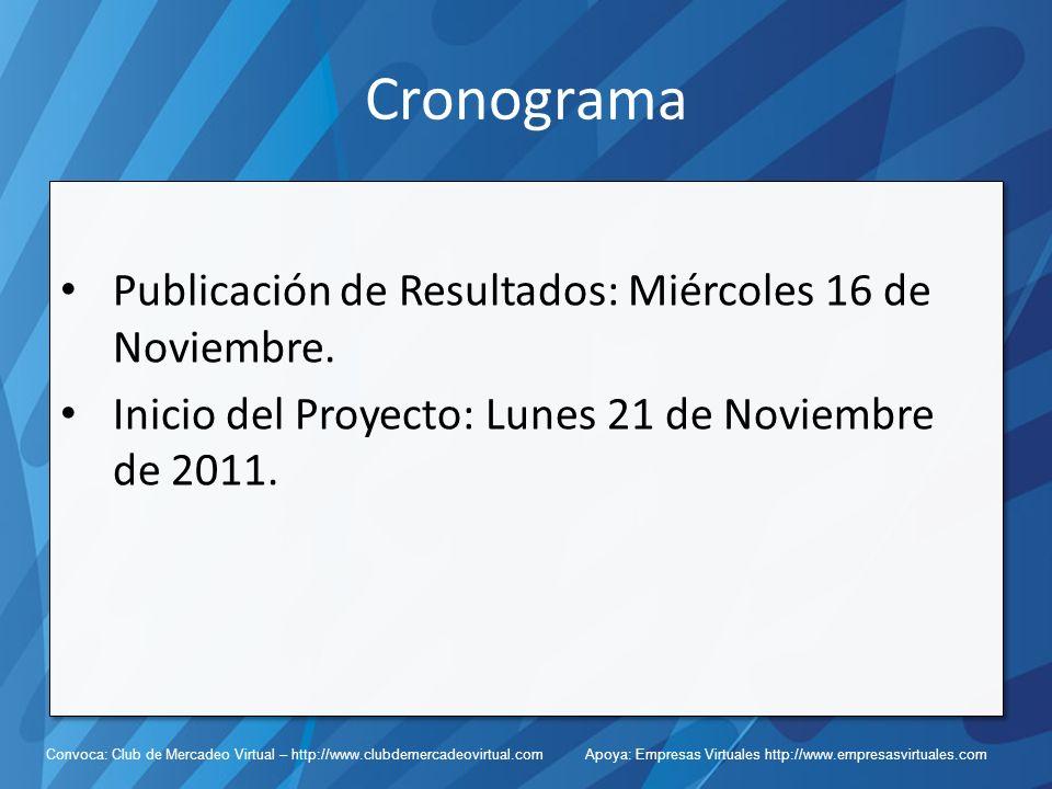 Cronograma Publicación de Resultados: Miércoles 16 de Noviembre.