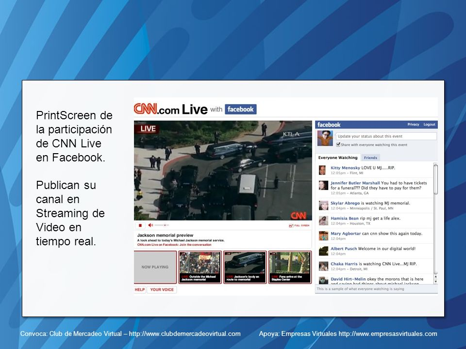 PrintScreen de la participación de CNN Live en Facebook.