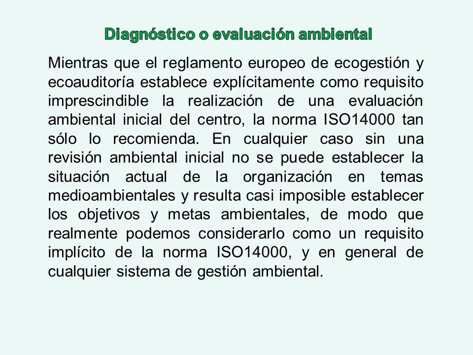 Diagnóstico o evaluación ambiental