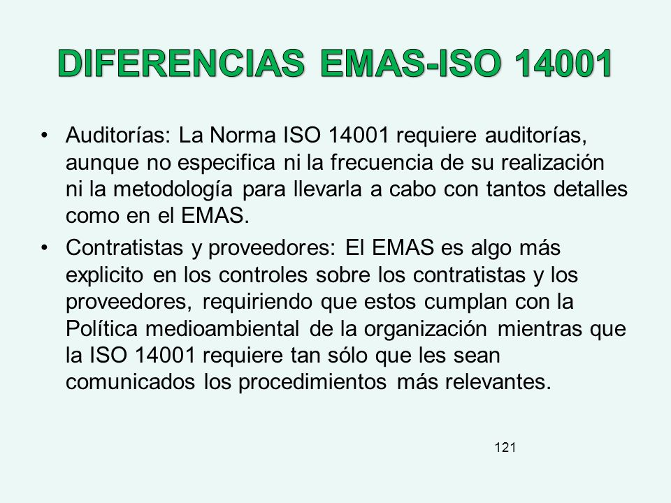 DIFERENCIAS EMAS-ISO 14001
