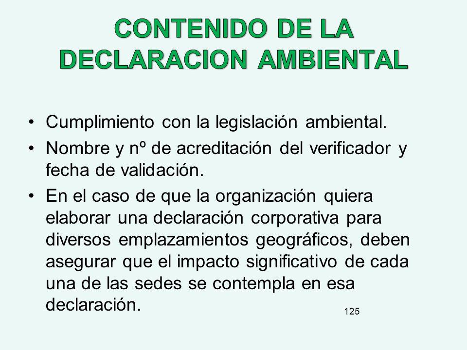 CONTENIDO DE LA DECLARACION AMBIENTAL