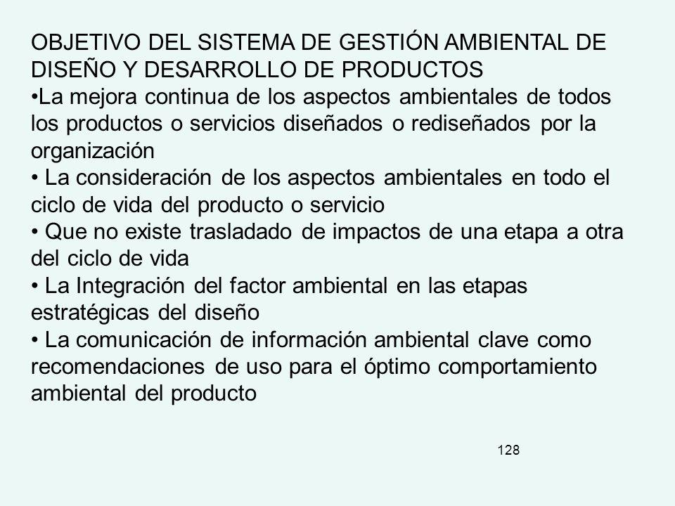 OBJETIVO DEL SISTEMA DE GESTIÓN AMBIENTAL DE DISEÑO Y DESARROLLO DE PRODUCTOS
