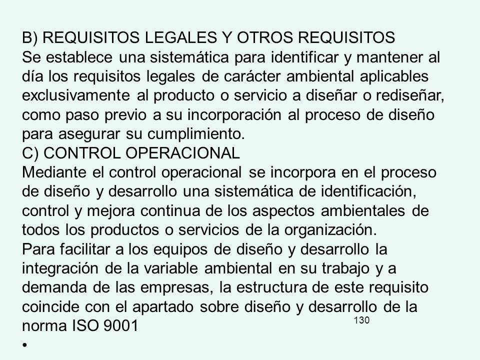 B) REQUISITOS LEGALES Y OTROS REQUISITOS