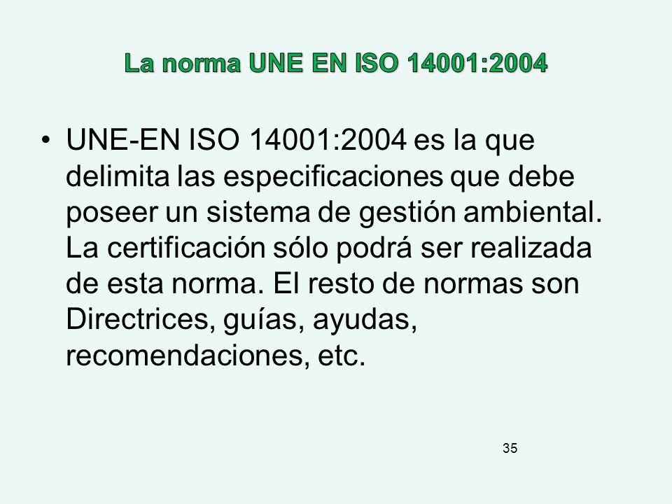 La norma UNE EN ISO 14001:2004