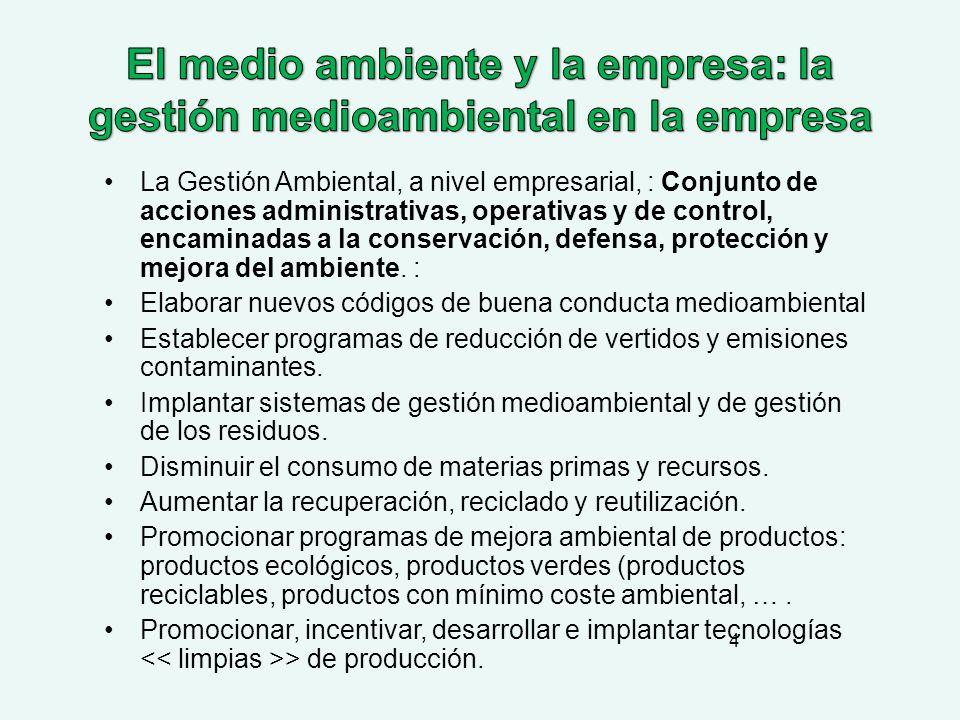 El medio ambiente y la empresa: la gestión medioambiental en la empresa