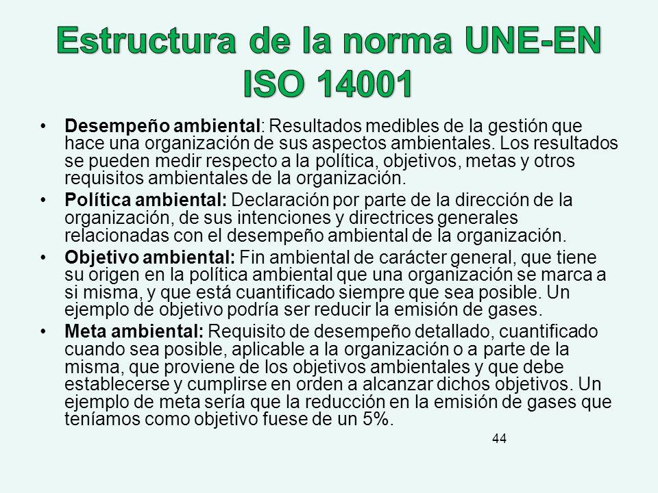 Estructura de la norma UNE-EN ISO 14001