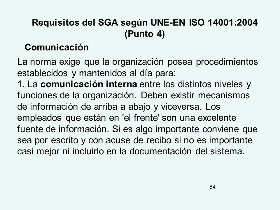 Requisitos del SGA según UNE-EN ISO 14001:2004 (Punto 4)